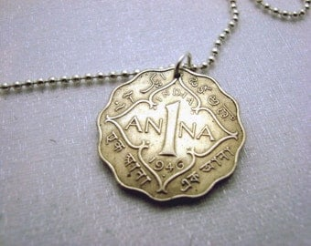 Coin Jewelry - ANNA COIN NECKLACE - Antique British India 1 Anna ornate coin -  Ann, Anne, Anna, Annabelle - name necklace - India jewelry