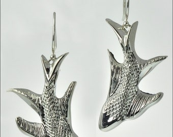 Hand Engraved Fish Earrings