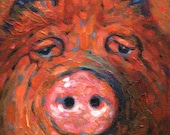 Image of Beauty, signed giclee print of a pig portrait