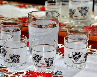 7 piece ICE  Bucket and glasses - BARWARE Cerve DeValBor Italy - POINSETTIA - Holiday - Christmas -  Frosted, Black & Gold