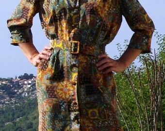 French Vintage Dress, Paisley and Flower Print Dress
