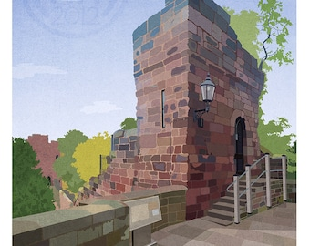 Retro Style Chester Tower Print - A3 Unframed