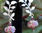 SALE***Floral lampwork swarovski crystal silver leaved earpost earrings