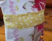 Yellow, Pinks, White Floral Lined Zipper Pouch, Vintage Fabric