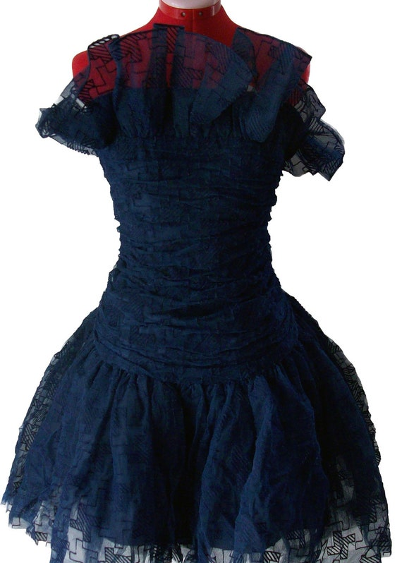 Blue Formal (Prom) Dress - 1980's Vintage - Free Shipping