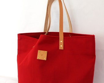 Canvas Tote... SPECIALIZED LABEL...Petite RED tote bag