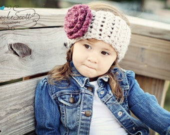 Childrens Earwarmer Headband, Flower Headband Earwarmers, Crochet Headwrap, Fall Fashion