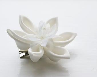 Ivory Hair Flower - Bridesmaid Hair Flower - Bridal Hair Accessory -Bridesmaids Gift / Wedding Keepsake - Bridesmaids Hair Clip