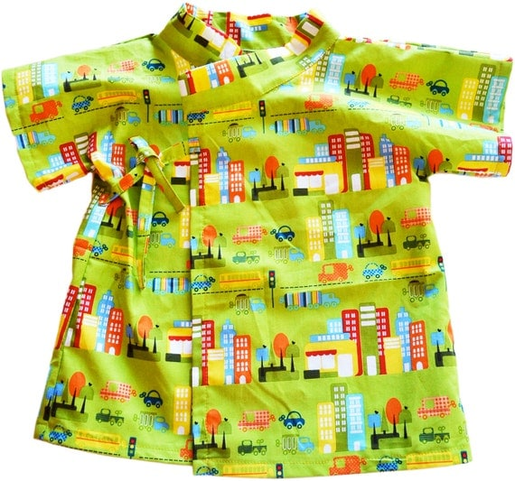 Baby Shirt Baby Clothing Kimono 100% Printed Cotton by City Streets Cityscape Olive Sizes from Newborn to 24 Mo FAST SHIPPING