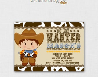 Printable Cowboy Invitation and Cupcake Topper Set