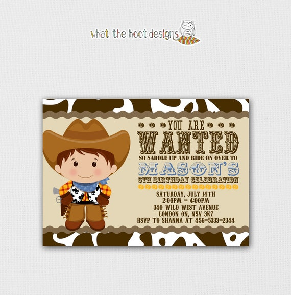 Printable Cowboy Invitation and Cupcake Topper Set