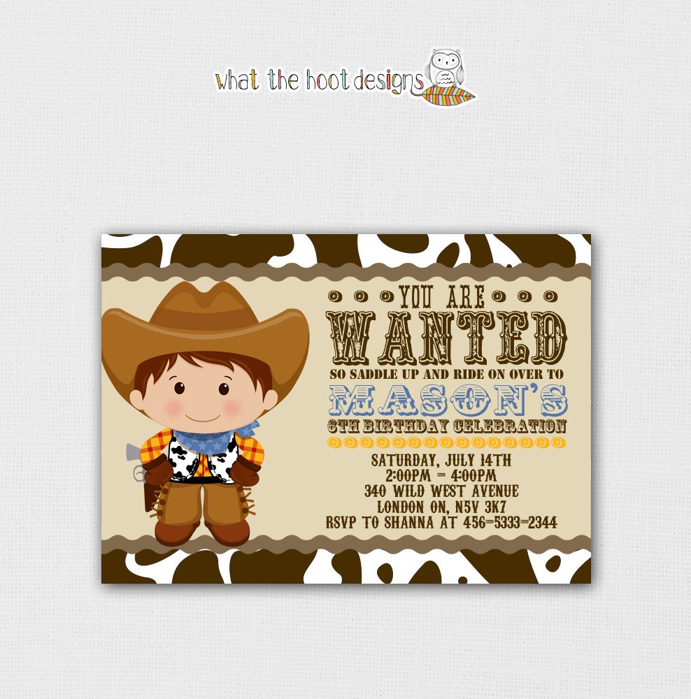 Printable Cowboy Invitation and Cupcake by whatthehootdesigns: https://www.etsy.com/listing/103391313/printable-cowboy-invitation...