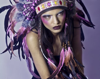 Salmon pink feather and leather headdress, costume headdress, feather headband