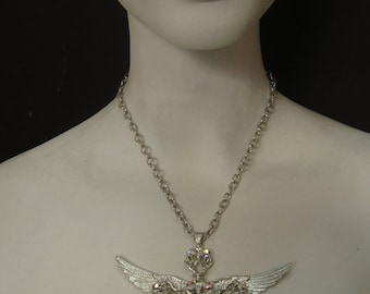 Cluster Cross with angel wings silver Plated  with Crystal Ab swarovski Crystals
