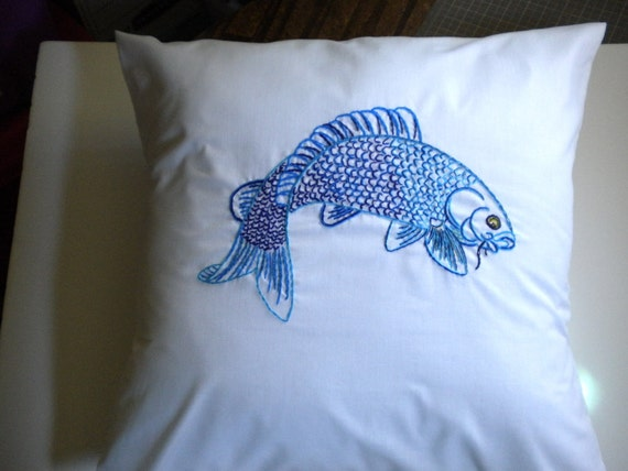 Koi pillow cover blue on white 20 inches framed art fish pond for Koi fish pillow