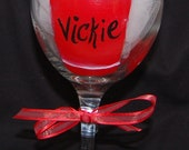 Hand Painted Wine Glass   Red Solo Cup