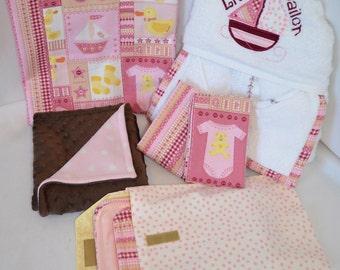 Little Sailor Girl Gift Set: Baby Blanket, Burp Cloth, Changing Pouch Set, Snuggle Blanket, Hooded Towel