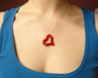 Red Heart Pendant, Floating Heart Necklace, Beaded Heart Jewelry, Open Heart Necklace UK