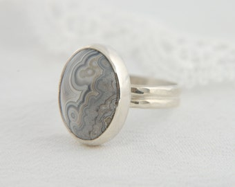 Lace Agate Ring Statement Ring Artisan Ring Large Silver Ring Custom Ring Natural Stone Ring Lace Agate Jewelry