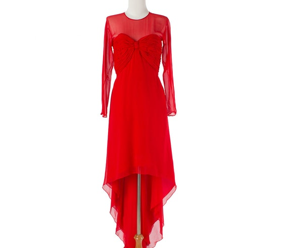 Red Vintage Dress --RESERVED-- Formal Gown Silk 80s Small Medium
