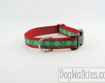 """Green Snowflakes Christmas Dog Collar - 3/4"""" (19mm) Wide - Choice of collar style and size - Martingale Dog Collars or Quick Release Buckle"""