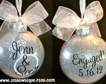 Great Engagement Gift Idea. Christmas Ornament for Engagement/Engaged Couple. Glass.