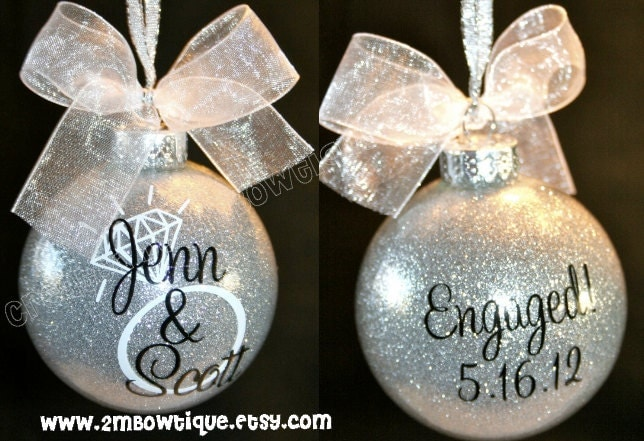 Great Engagement Gift Idea. Christmas Ornament for