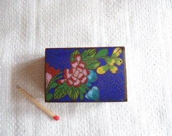 Asian Cloisonne Enamel Match Box Holder, Antique Copper Match Safe With Partial Wooden Match Box