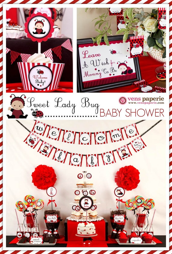 Red Sweet Lady Bug Baby Shower Package Personalized by venspaperie
