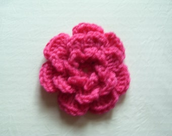 French Rose Brooch, Crochet Brooch, Crochet Flower Brooch,  Crochet Pink Flower Brooch