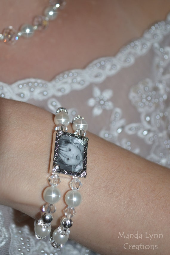 Sparkly Double Strand Photo Bracelet with White Pearls and Clear Swarovski Crystals