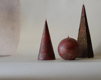 Handpainted Rustic Candles Set Of 3 - Cone Pyramid Ball - Black Red Gold Candles - Rustic Home Decor - Gift For Men - Gift for Friends