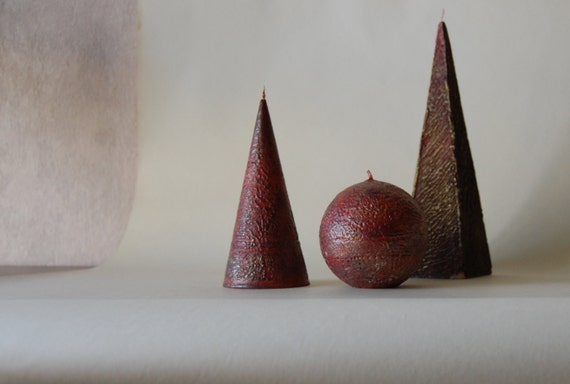 Handpainted Rustic Candles Set Of 3 - Cone Pyramid Ball - Black Red Gold Candles - Rustic Home Decor - Rustic Table Decor - Gift for Friends
