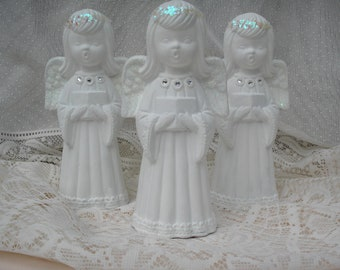 Vintage Ardco White Angels Hand Painted Upcycled Paper Mache