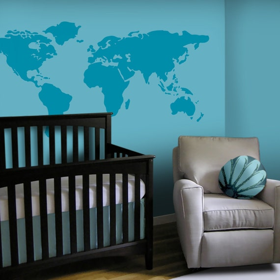 Baby Nursery Wall Decal - Large World Map Nursery Wall Decal - 7 feet wide world map decal - nursery wall map