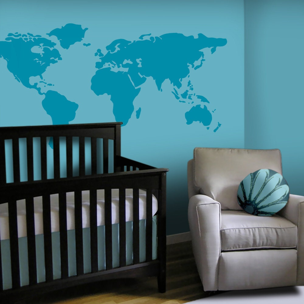 baby nursery wall decal large world map nursery wall decal. Black Bedroom Furniture Sets. Home Design Ideas