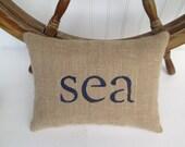 sea pillow, nautical nursery, blue pillow, nautical decor, decorative burlap accent pillow, blue nursery, sailing decor, beach house decor
