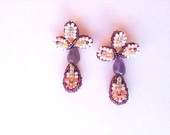 Chandelier earrings, elegant, amethyst jewelry,boho earrings,long earrings, drop earrings, geamstone earrings lily flower, couture earrings