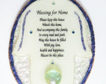 Blessing for Home Glass Hamsa