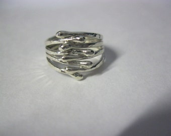 Unique Argentium Silver Rings, Handforged, Hammered Rings, Size 4 rings, Multiple Band Rings