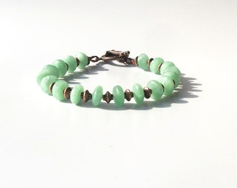 Green Aventurine and Copper Bracelet- Fall jewelry, autumn jewelry, chunky, Fall trend, 2012 Jewelry