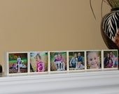 Personalized Family Signs Photo Blocks Family Name Decor Wood Sign Picture Blocks Christmas Gift - SET of  6