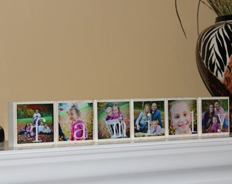 Family Name Signs PERSONALIZED Photo Blocks, Customized Decorations for Home, Wedding, Birthday, Christmas Gift, SET of  6