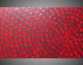 Red and Grey wall art Abstract Acrylic Painting with Squares Modern wall art deco 48 x 24 Ready to Hang Made to Order
