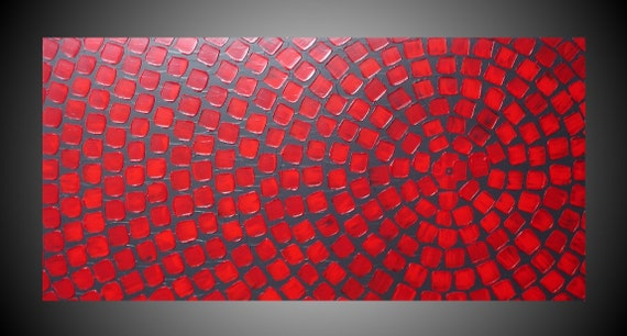 Red And Grey Wall Art Abstract Acrylic Painting With Squares