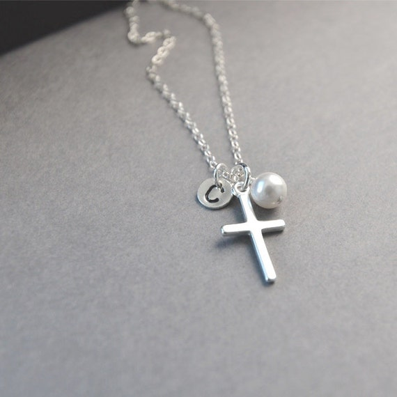 silver cross necklace personalized baptism confirmation