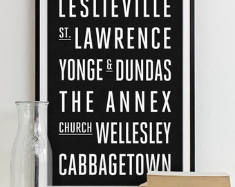 Toronto Subway Sign Print Bus Roll City Poster