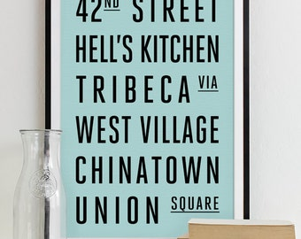 New York Subway Sign Art Subway Print Bus Roll City Poster Typography