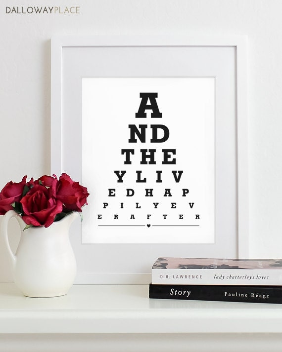 Wall Art Print Eye Chart - anniversary gift wedding shower quote art ...