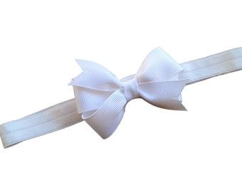 White baby headband - baby headband, newborn headband, white bow headband, baby bow headband, baby girl headband, white headband